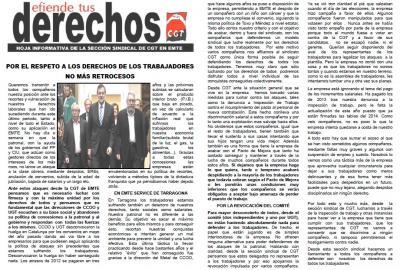 CGT de EMTE en lucha contra el recorte de derechos a los trabajadores nuevos y en defensa de toda la plantilla